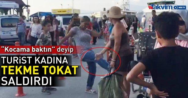 Kocama baktın deyip turist kadına saldırdı