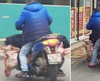 Bursa'da akılalmaz görüntü! Etleri böyle taşıdı…
