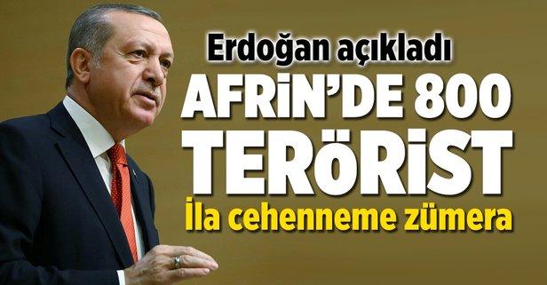 Erdoğan açıkladı: Afrinde 800 terörist öldürüldü