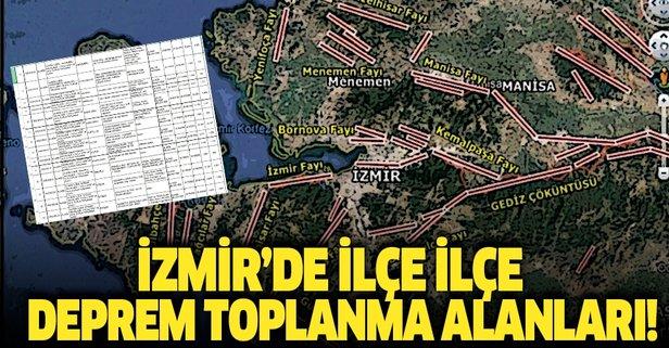 İzmir deprem toplanma alanları!