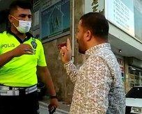 Polisi tehdit eden zorba sürücü gözaltına alındı