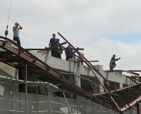 Spor salonu inşaatında feci olay