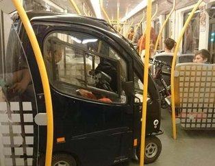 Metroya aracıyla binen adam herkesi şok etti! İşte birbirinden ilginç görüntüler