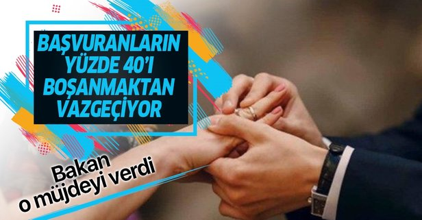 Başvuranların yüzde 40'ı boşanmaktan vazgeçti