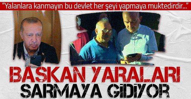 Başkan Erdoğan yangın bölgesindeki vatandaşlara seslendi