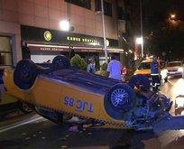 Beşiktaş'ta feci kaza! Taksi takla attı