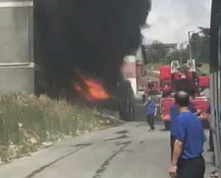 Hadımköy'de fabrikada yangın!