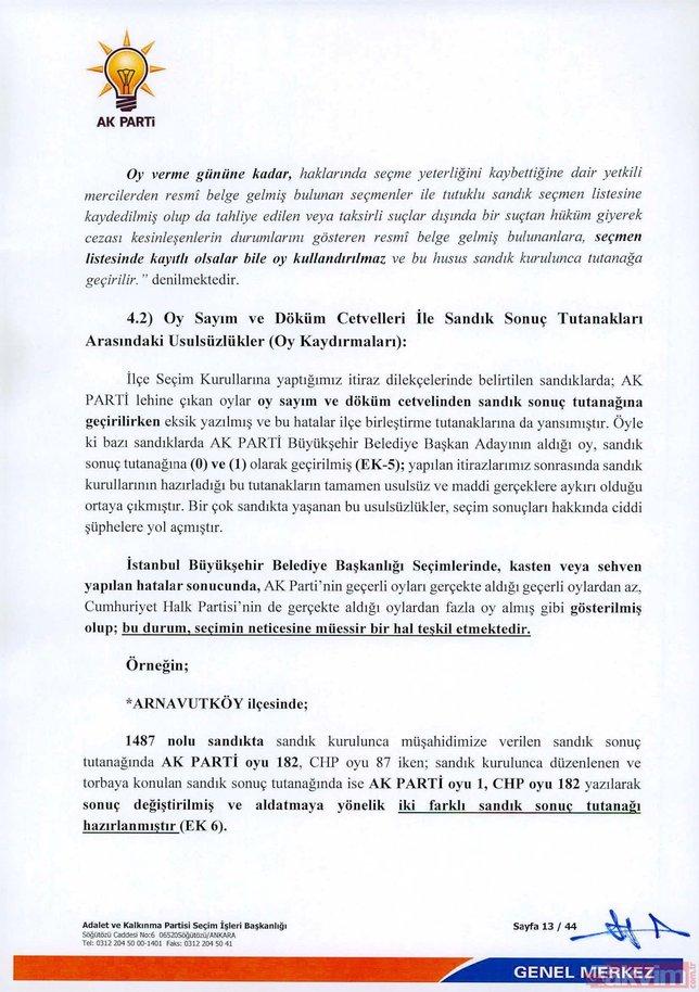 İşte AK Parti İstanbul seçimlenin iptali için YSK'ya verdiği 44 sayfalık olağanüstü itiraz dilekçesi
