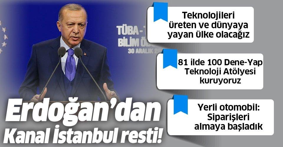 Başkan Erdoğan'dan TÜBİTAK ve TÜBA Bilim Ödülleri Töreni'nde yerli otomobil mesajı: Başaramazsınız diyenlere inat başardık