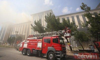 Çanakkale Emniyet Müdürlüğü binası inşaatında yangın! Helikopterler havalandı...