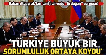 Bakan Albayrak'tan Soçi Zirvesi paylaşımı: Türkiye büyük bir sorumluluk ortaya koydu...