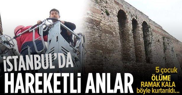 İstanbul'da tarihi surlarda dehşet anları!
