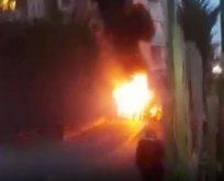 Çekmeköy'de yere düştükten sonra alev alan helikopter ve yaşanan panik kamerada