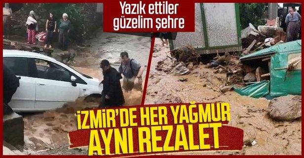 İzmir Ödemiş'i sağanak vurdu!