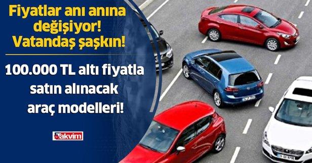 Sahibinden 100.000 TL altı fiyatla satın alınacak araç modelleri!