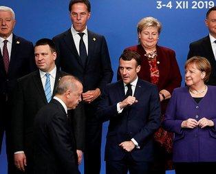 Zirveye damga vuran anlar! Erdoğan herkesin içinde Macron'u azarladı