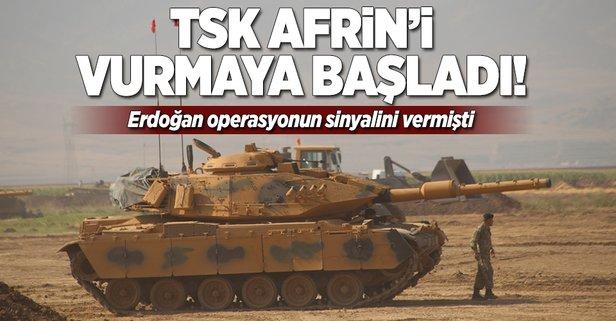 TSK, Afrindeki PYD mevzilerini vurmaya başladı