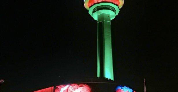 Atakule, Azerbaycan Bayrağı'nın renkleriyle ışıklandırıldı