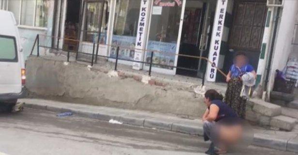 Sokak ortasında mide bulandıran görüntü
