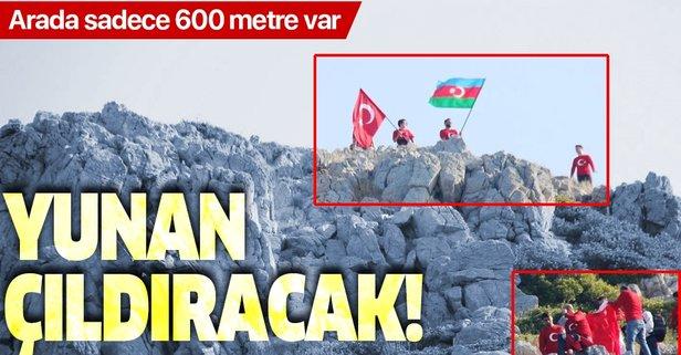 Yunan adalarına karşı dev Türk bayrağı