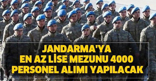 Jandarma'ya en az lise mezunu 4000 personel alımı yapılacak