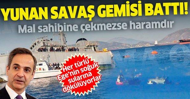 Yunan gemisi canlı yayında sulara gömüldü