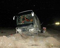 Yozgat'ta yolcu otobüsü şarampole düştü