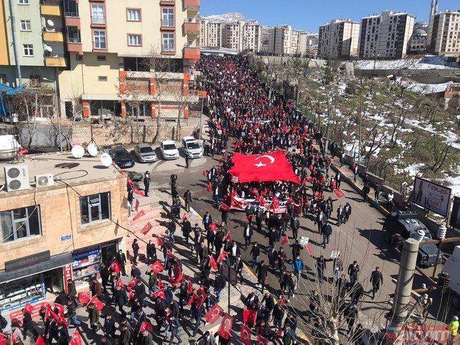 Şırnak, PKK terörüne lanet etti! Binlerce kişi ellerinde bayraklarla sokağa döküldü: Şehitler ölmez, vatan bölünmez