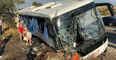 Muğla'da tur otobüsü kaza yaptı