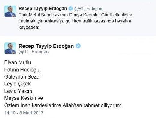 Erdoğan Isimlerini Tek Tek Yazdı Takvim 08 Mart 2017