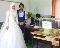 Düğün gününde oy kullanmaya gelinliğiyle geldi