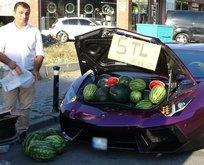 Lüks otomobilde 5 liraya karpuz sattı!