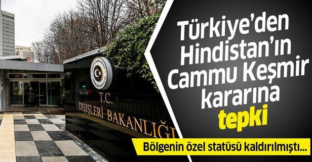 Türkiye'den Hindistan'ın kararına tepki