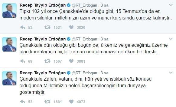 Erdoğandan 18 Mart çanakkale Zaferi Mesajı Takvim 18 Mart 2017