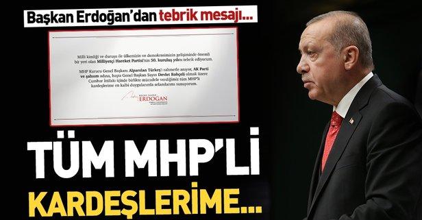Başkan Erdoğan'dan MHP'ye tebrik mesajı