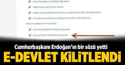 Erdoğan'ın bir sözü yetti e-devlet kilitlendi!