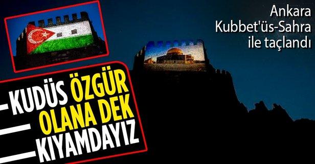 Ankara Kalesi Filistin'e destek için ışıklandırıldı