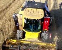 Başkan Erdoğan biçerdöverde buğday hasadı yaptı