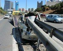 TEM'de korkunç kaza! Bariyerlere ok gibi saplandı