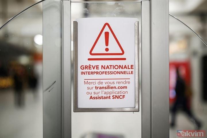 Fransa tarihinin en büyük grevi! Macron tüm ziyaretlerini iptal etti!