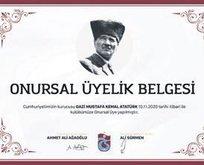 Atatürk kulübe onur üyesi yapıldı