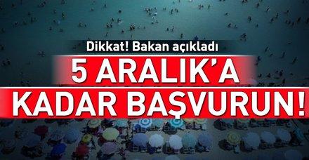 Çevre ve Şehircilik Bakanı Murat Kurum açıkladı: 5 Aralık'a kadar başvurun