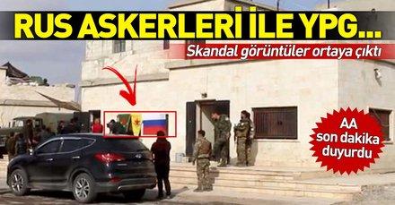 Son dakika: AA görüntüledi! Rus askerleri ile YPG'lilerden Münbiç'te ortak devriye
