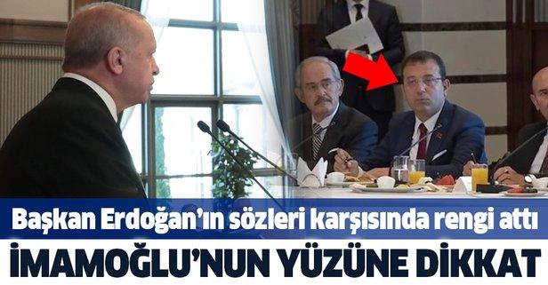Başkan Erdoğan konuştu, İmamoğlu'nun rengi attı