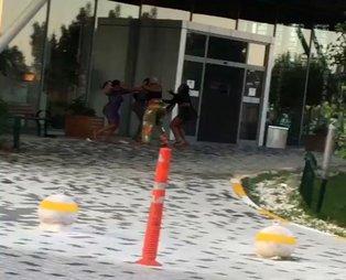 İstanbul'da saç saça kavga kamerada! Yabancı uyruklu kadınlar güçlükle ayrıldı