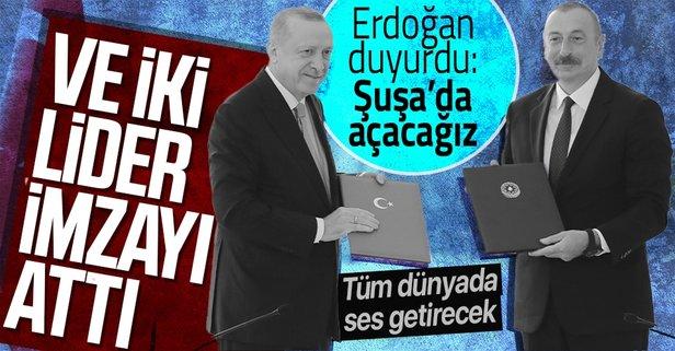 Başkan Erdoğan ile Aliyev'den Şuşa'da önemli açıklamalar