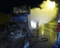 Pendik'te korkunç olay! Cıvata yüklü kamyon yandı