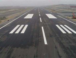 Üçüncü havalimanının biten pisti havadan görüntülendi