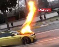 Sarıyerde dehşet! Lüks otomobil cayır cayır yandı