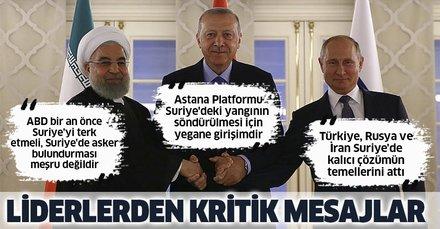 Kritik zirve sonrası Erdoğan, Putin ve Ruhani'den ortak açıklama